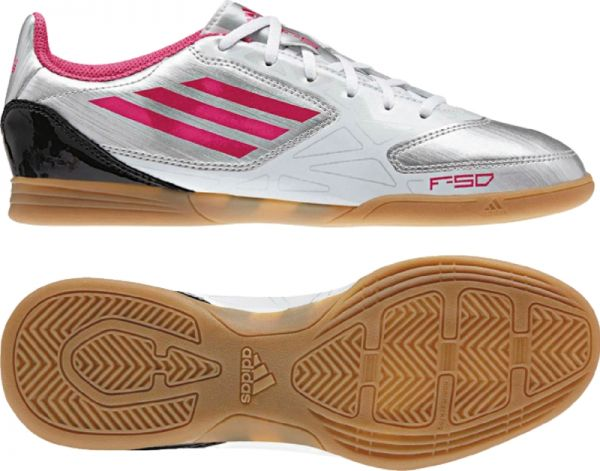 F5 IN Silver-Pink Indoor Soccer Shoes